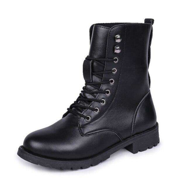 Winter Lace-up Black Boots