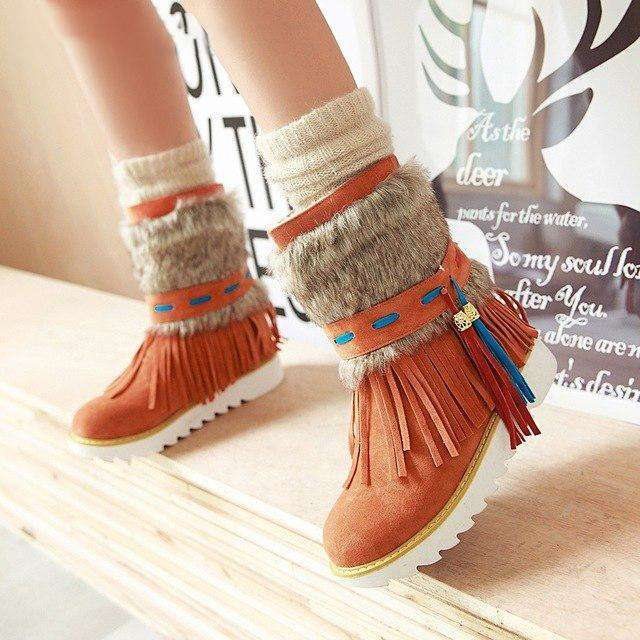 New Autumn And Winter Tassel Short Tube Female Boots Matching Color Beaded Female Boots Large Size Frosted Snow Boots