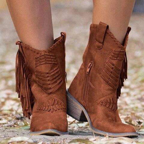 Fringe Leather Women Boots For Spring