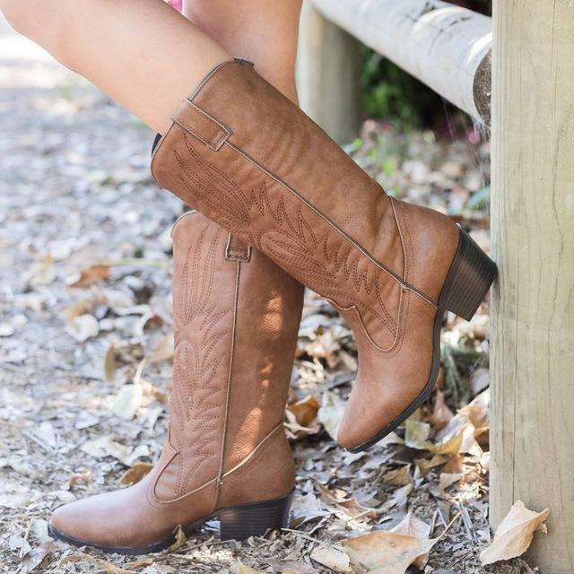 Basic Flock Leather Cowboy Boots