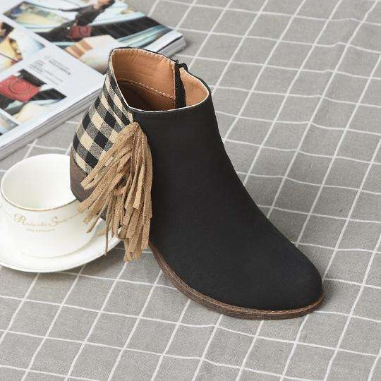 Retro Women Ankle Boots With Tassel Side Checked Back