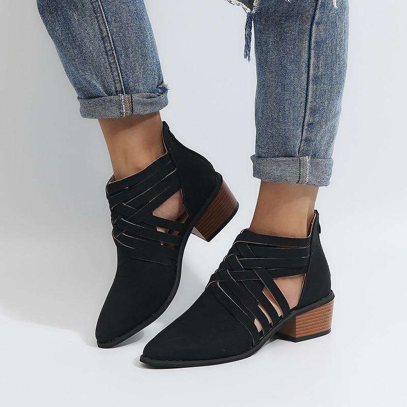 Open Crisscross Pointed Booties