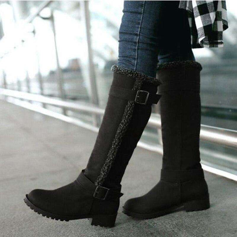 Women Knee High Snow Boots With Metal Buckle