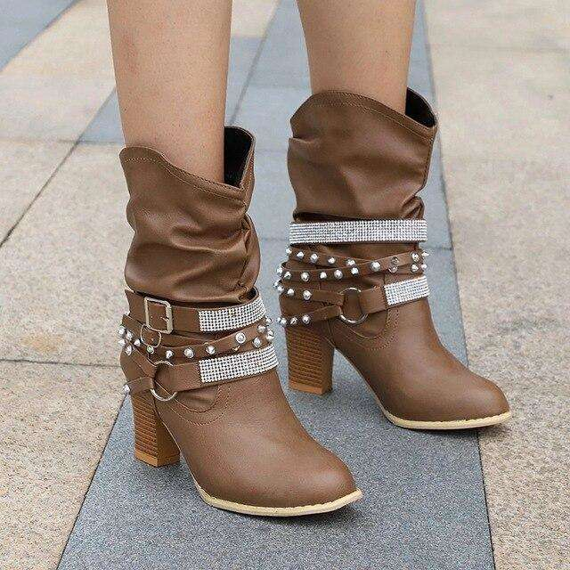 Mid Heel Leather Boots