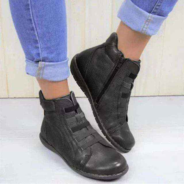 Side Zip Ankle Leather Boots