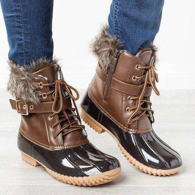 Plush Shiny Leather Women's Boots