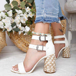 Colorful Double Buckle Heel Sandals