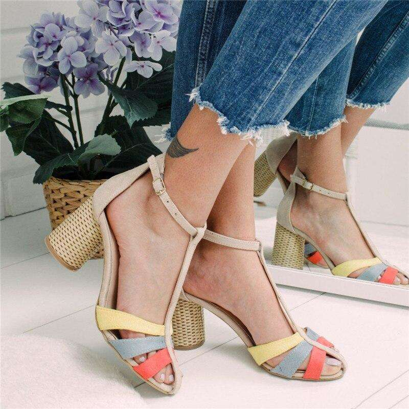 Colored Strap Line Heels