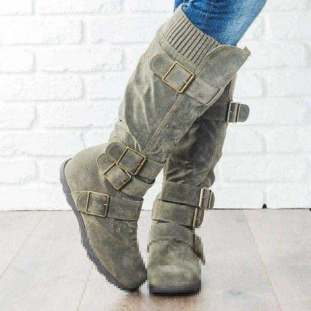 Multi Buckle High Casual Boots