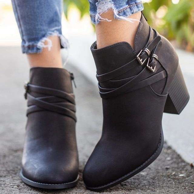Vintage Strappy Mini Buckle Boots