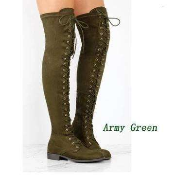Woman Front Lace Up Knee High Motorcycle Boot