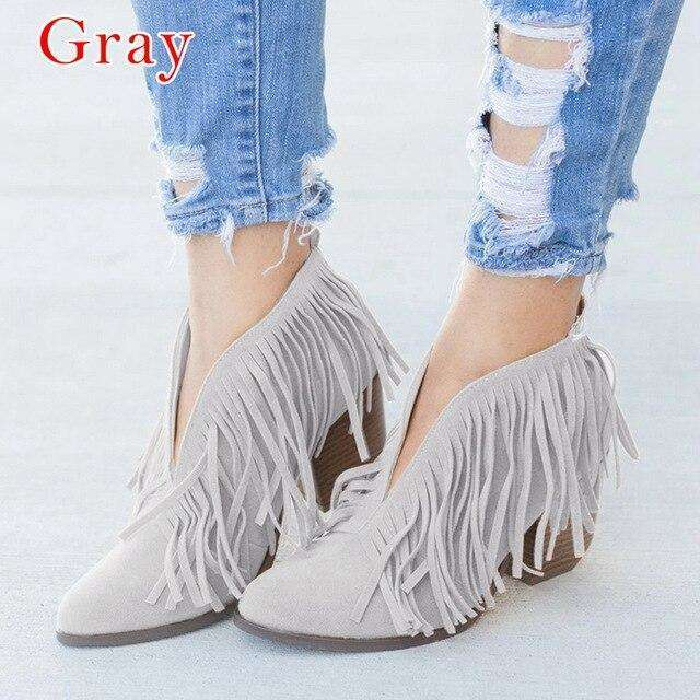 Ladies Ankle Boots For Autumn Deep V Shape