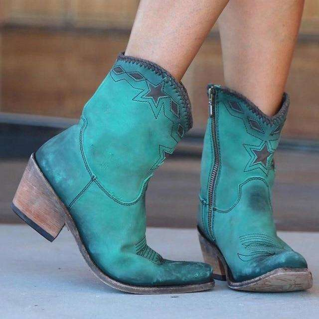 Western Retro Leather Heels For Woman