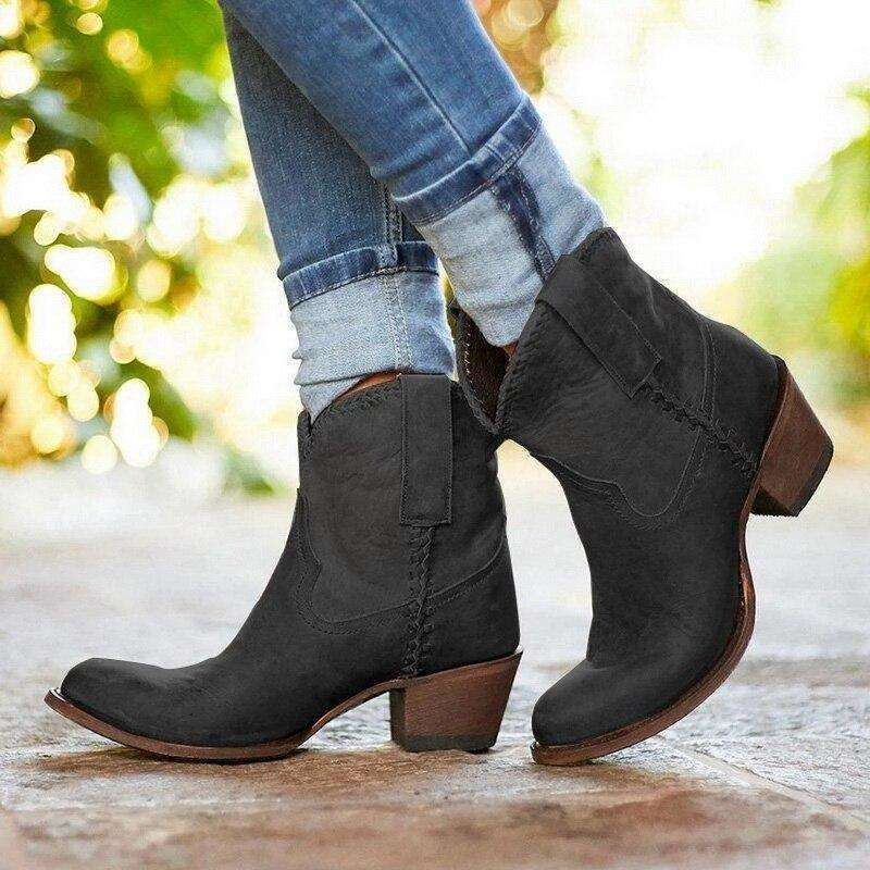 Women Slip On Pointed Toe Boots