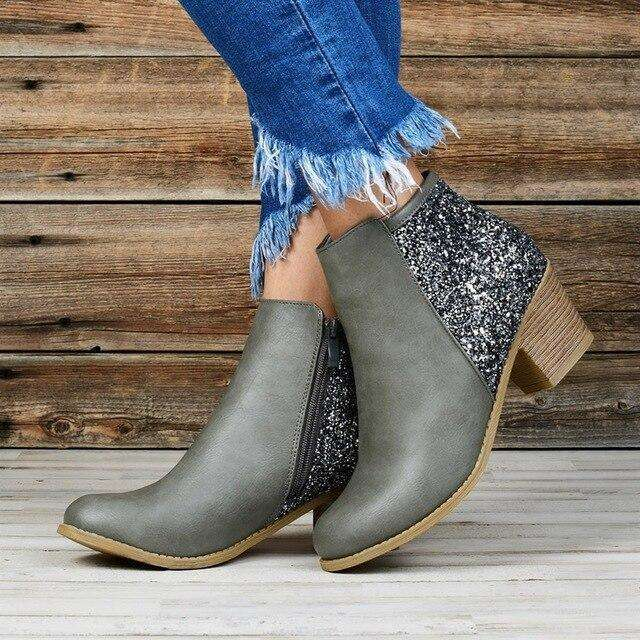Vintage Zipper Fashion Ankle Boots