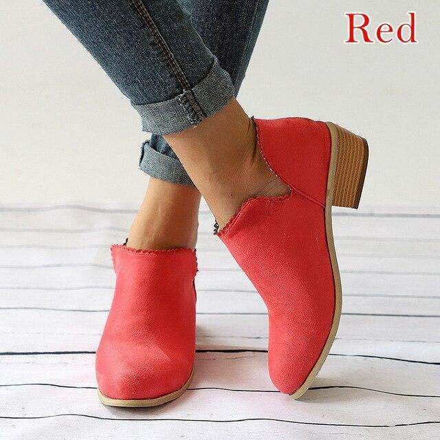 Square Heel Slip On Fashion Women Shoes