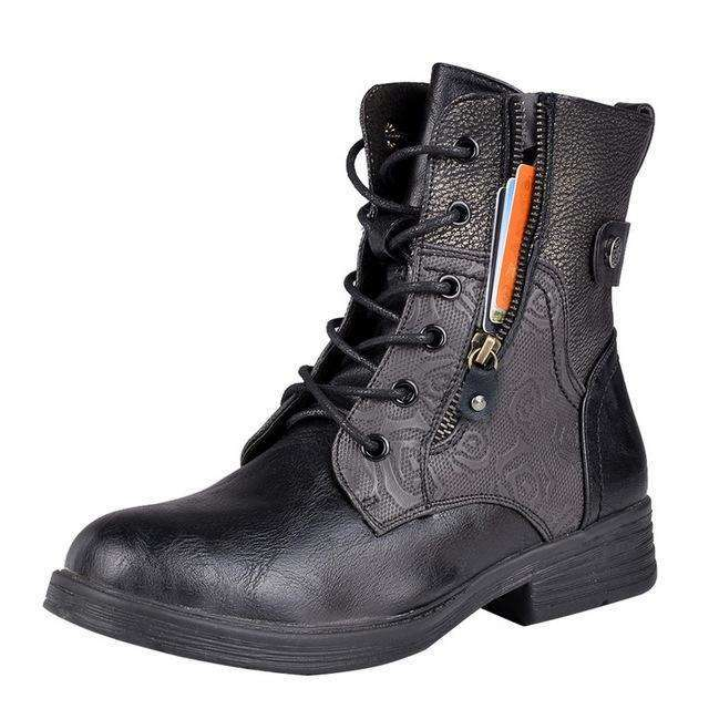 Lace Up Zip Buckle Snow Leather Women Boots