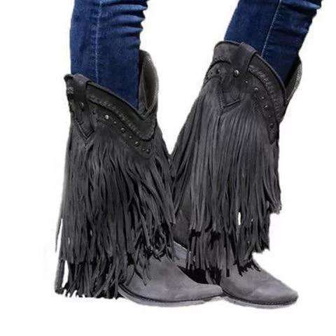 Women Mid-calf Boots Low Heel Bohemia Style Motorcycle Boots Fringed Cowboy Boots 2019 Shoes Spring Autumn Women Shoes