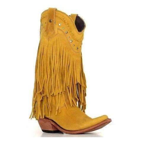 Bohemia Style Motorcycle Boots Fringed Cowboy Boots