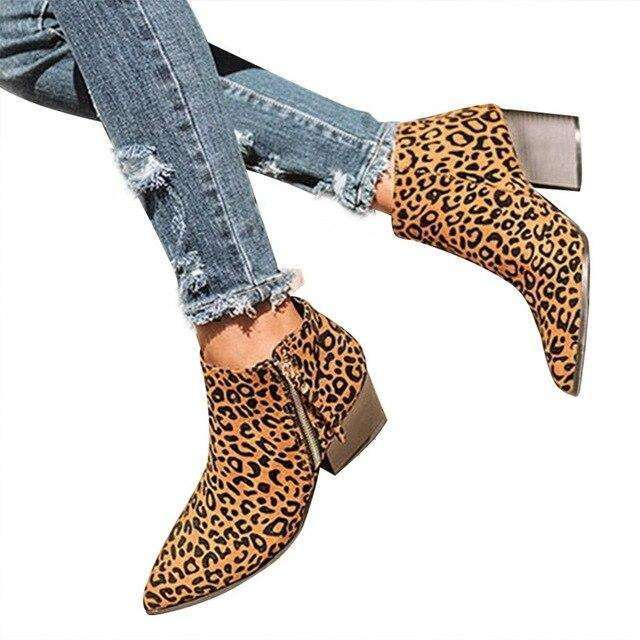 Suede Mid Heel Ankle Spring Boots