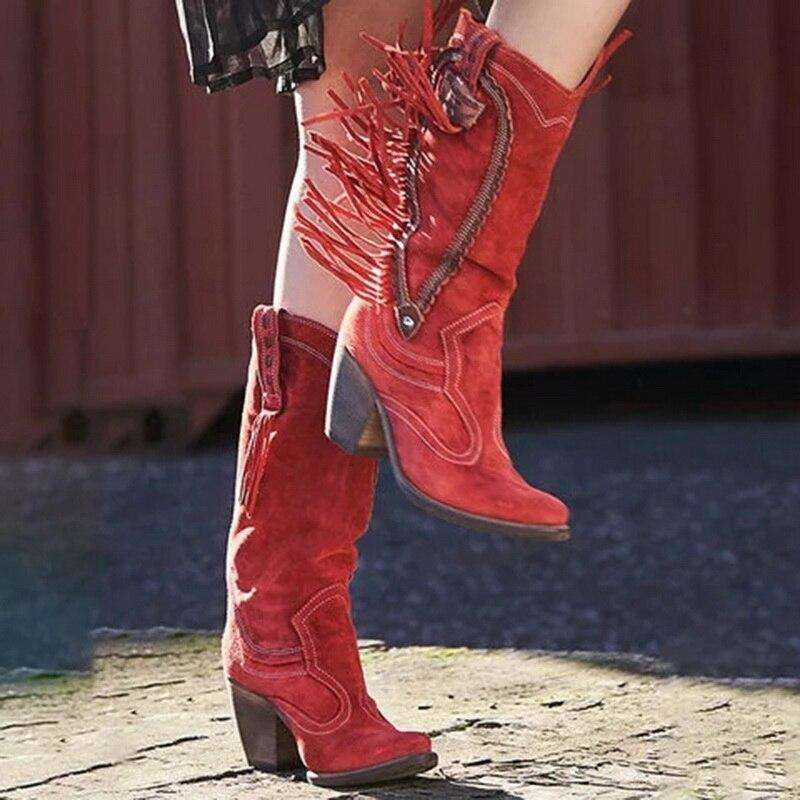Chunky Mid-Knee High Casual Boots