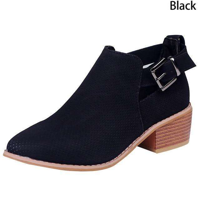 Casual Suede Leather Buckle Boots