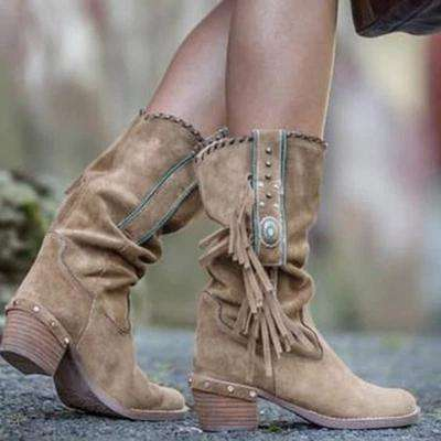 Mid Heels Knee High Tassel Boots