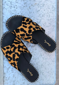 Twisted Leopard Slides