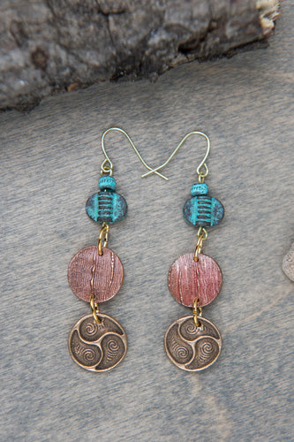 Earrings in Copper and Bronze