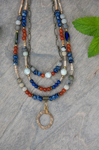 Sodalite and Carnelian Gemstone Necklace