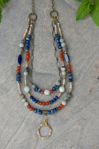 Medium - Sodalite and Carnelian Gemstone Necklace