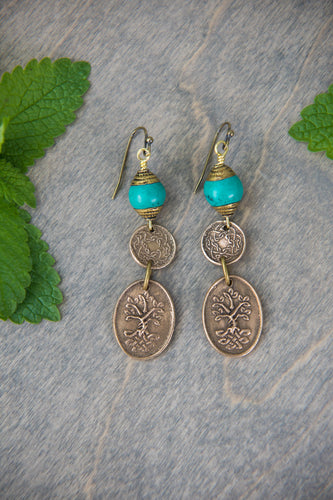 Bronze and Turquoise Dangles