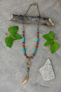 Medium - Turquoise and Red Jasper Feather