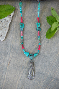 Medium - Turquoise and Coral Teardrop