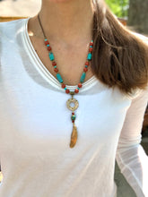 Load image into Gallery viewer, Medium - Turquoise and Red Jasper Feather