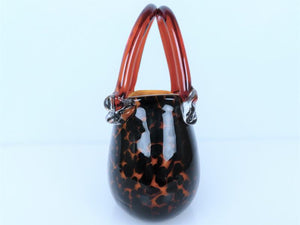 Murano Hand Blown Glass-Shaped Like a Purse Amber and Black in Color