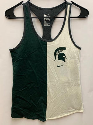 Nike Green and White Athletic Cut Tank Top Women's Size Small