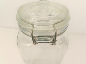 Glass Storage Container 11x4 With Metal Locking Clasp
