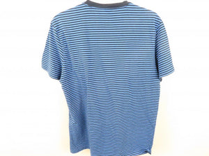 V-Neck Black and Blue Strip Mens Casual Pull Over Shirt Size L
