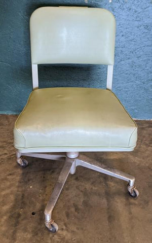 Steelcase Vintage Mid-Century Modern Rolling Tanker Desk Chair - Light Green