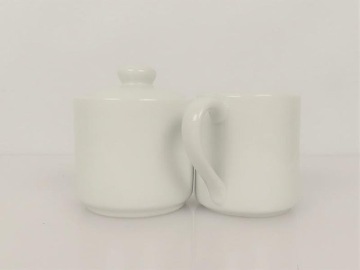 White Creamer and Sugar Bowl with Lid