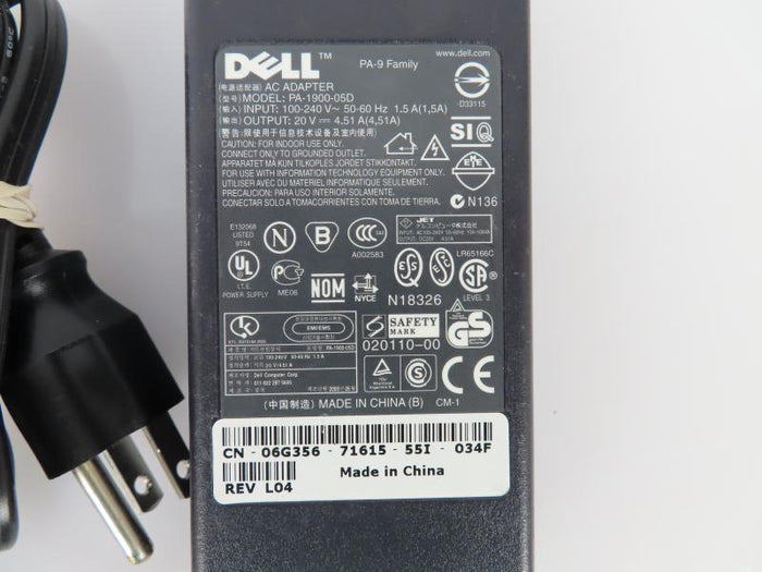 Dell 90W Power Supply PA-1900-05D 20V 4.51A