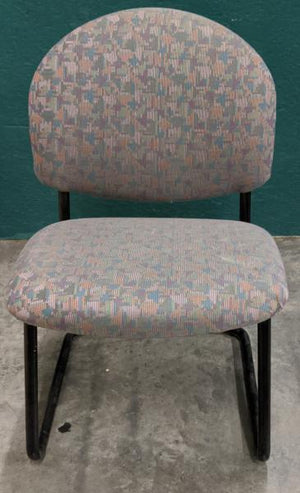 Steelcase Multi-Color Vintage Steel Frame Cloth Side Chair