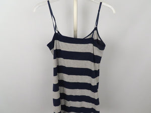 Zenana Outfitters Navy Blue and Gray Striped Tank Top Women's Size L