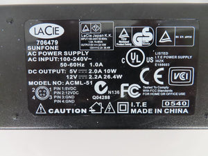 Lacie 27W/10W Dual Voltage Power Supply ACML-51 12V 2.2A and 5V 2.0A