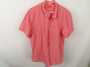 Izod Red Checked Short Sleeve Men's Shirt Size XL