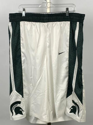 Nike White Michigan State Men's 2015-2016 Basketball Game Shorts