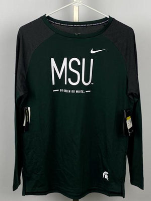 Nike MSU Dri-Fit Green and Grey Long Sleeve Shirt Women's