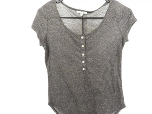 Charlotte Russe Slate Gray 5-Button Blouse Women's Size M