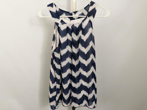 Byline Blue and White Sleeveless Blouse Women's Size L